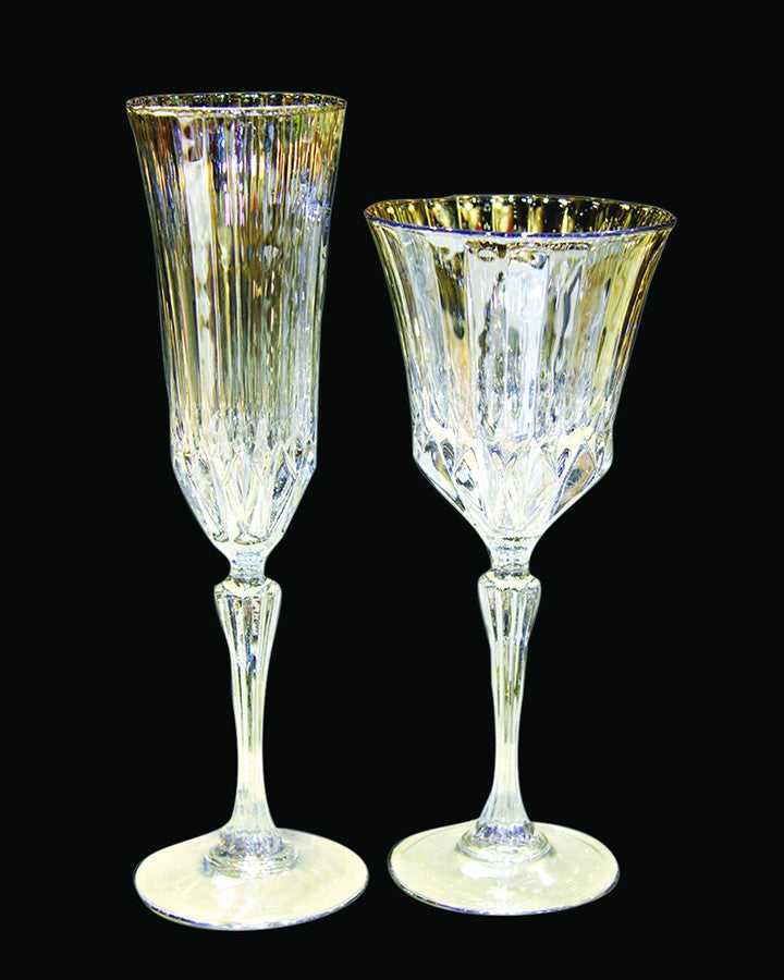 """Transparent wine & champagne glasses with golden finish Angie Homes"""