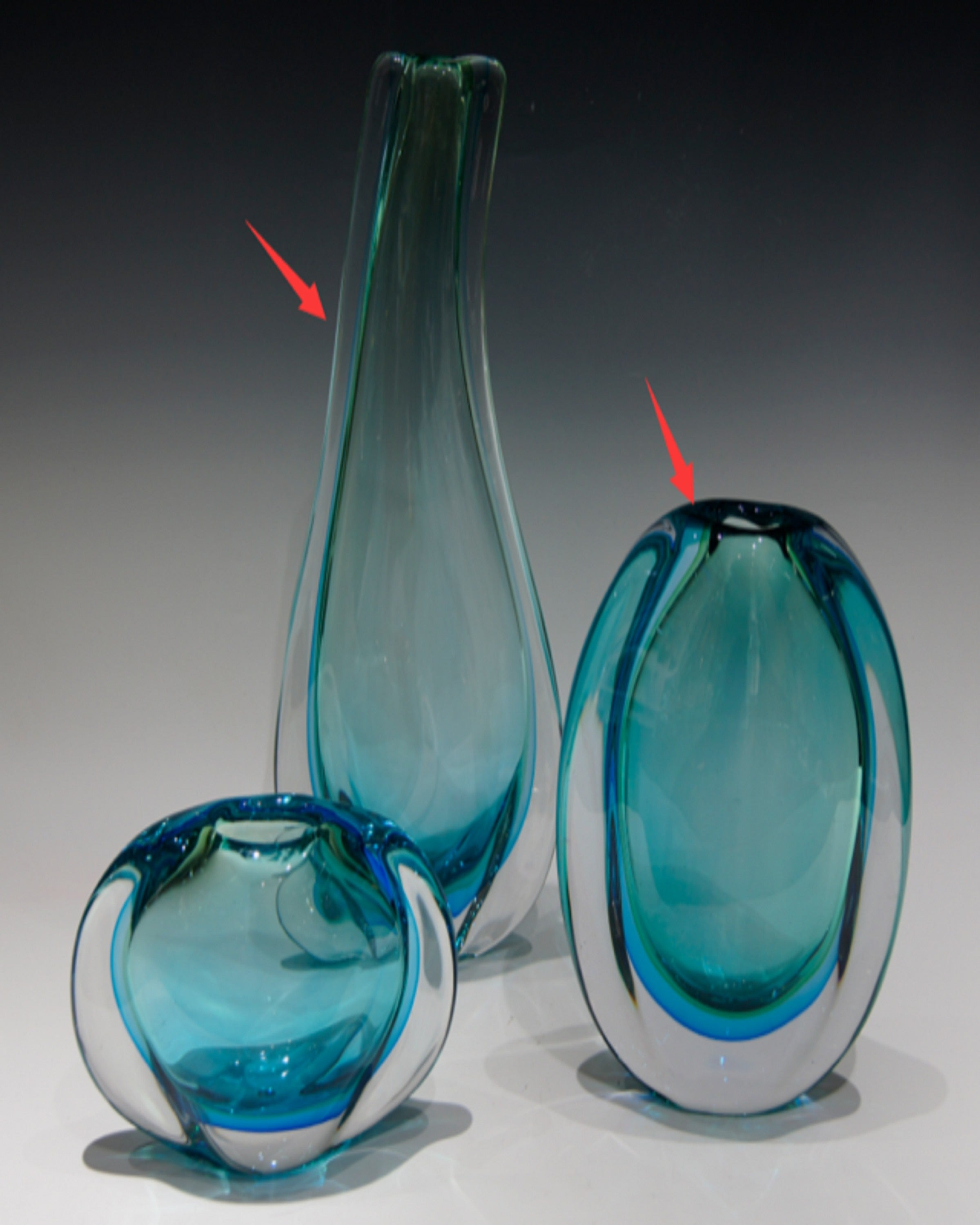 CETUS B BLUE MURANO  VASES (Set Of 3)- ANGIEHOMES.CO ANGIE HOMES