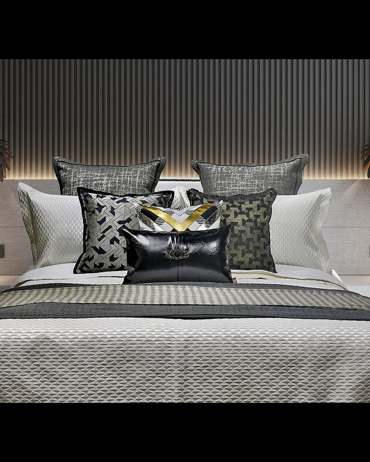 Luxury grey and black bed set with pillow | Angie Homes