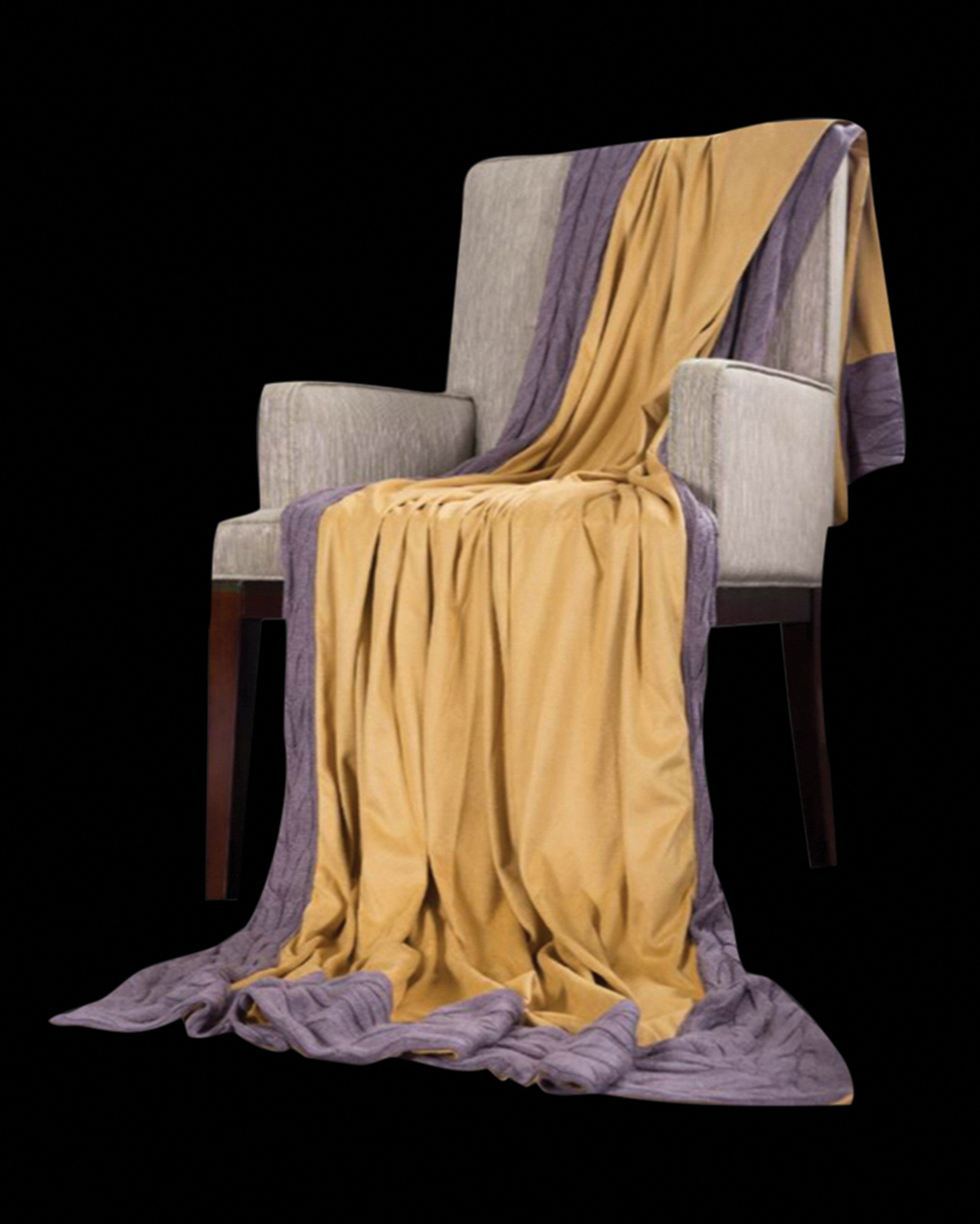CRICKET LUXURY YELLOW AND GREY  THROWS AND BLANKETS - ANGIE HOMES ANGIE HOME