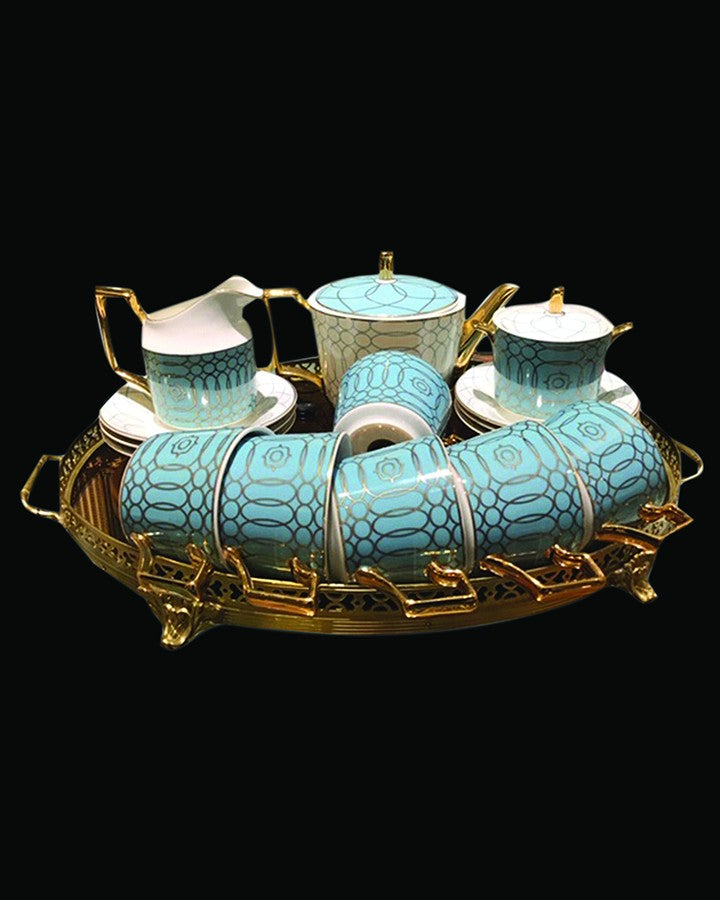 """Luxury tea sets with sky blue & golden boundary Angie Homes"""