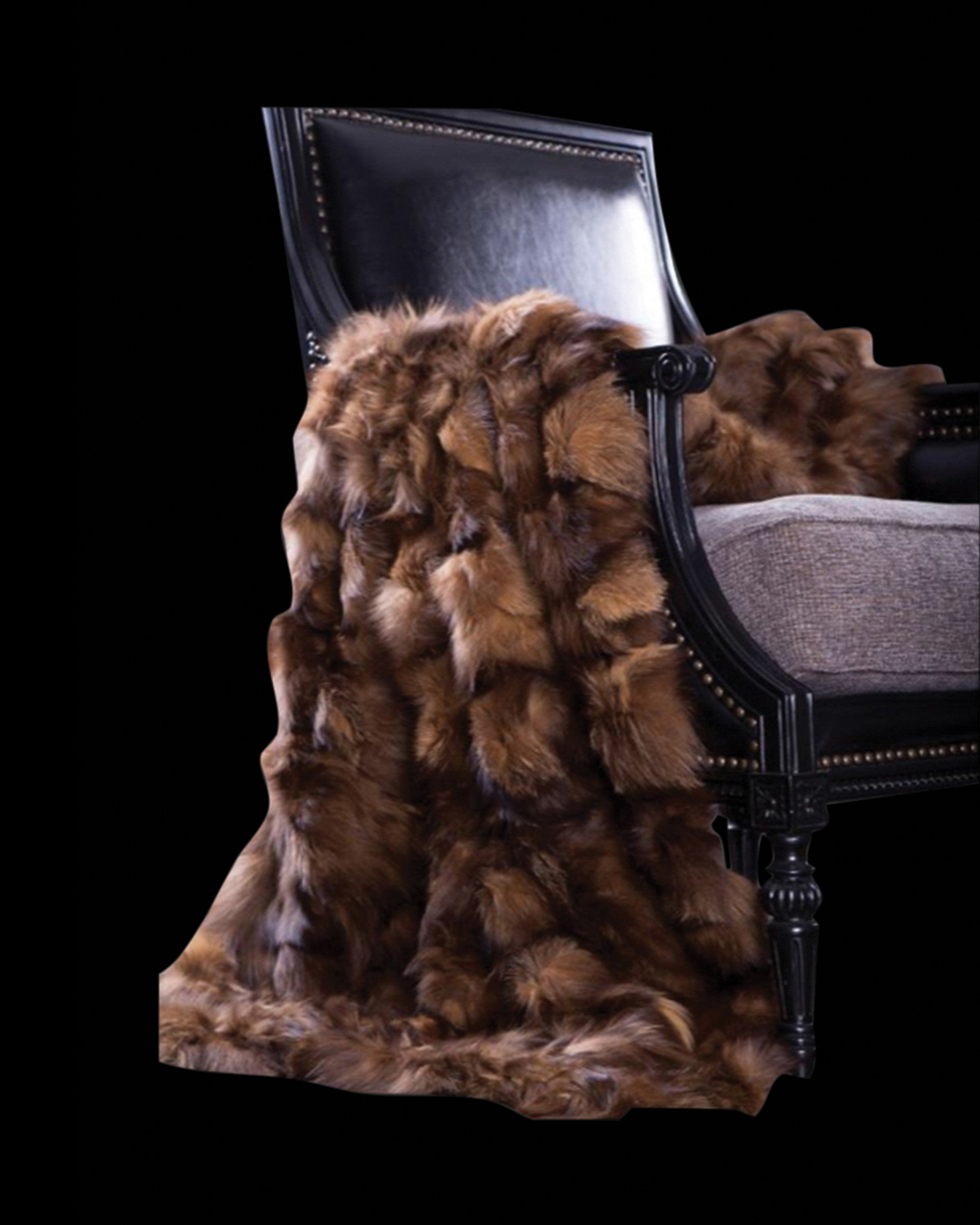 ELM LUXURY FUR BROWN  THROWS IN LIVING ROOM-ANGIE HOMES ANGIE HOMES