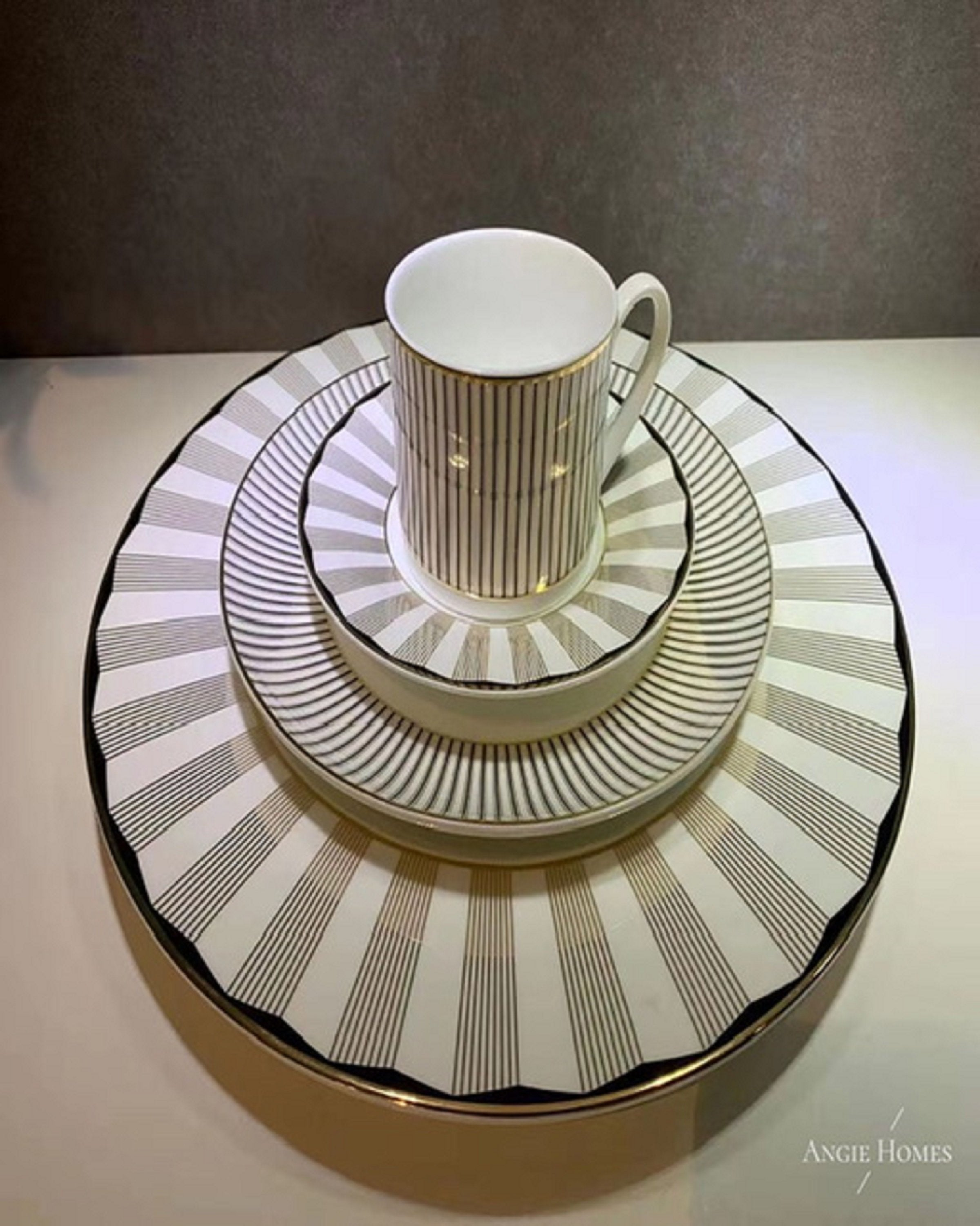 """Modern tea sets with white and black straight line design Angie Homes"""
