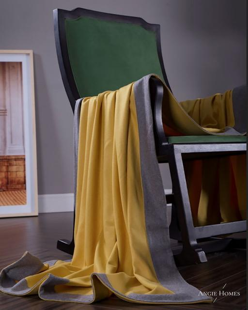 GABLE YELLOW LUXURY  WOOL & KNIT CASHMERE  THROWS & BLAKNKETS ANGIE HOMES ANGIE KRIPALANI DESIGN - ANGIE HOMES
