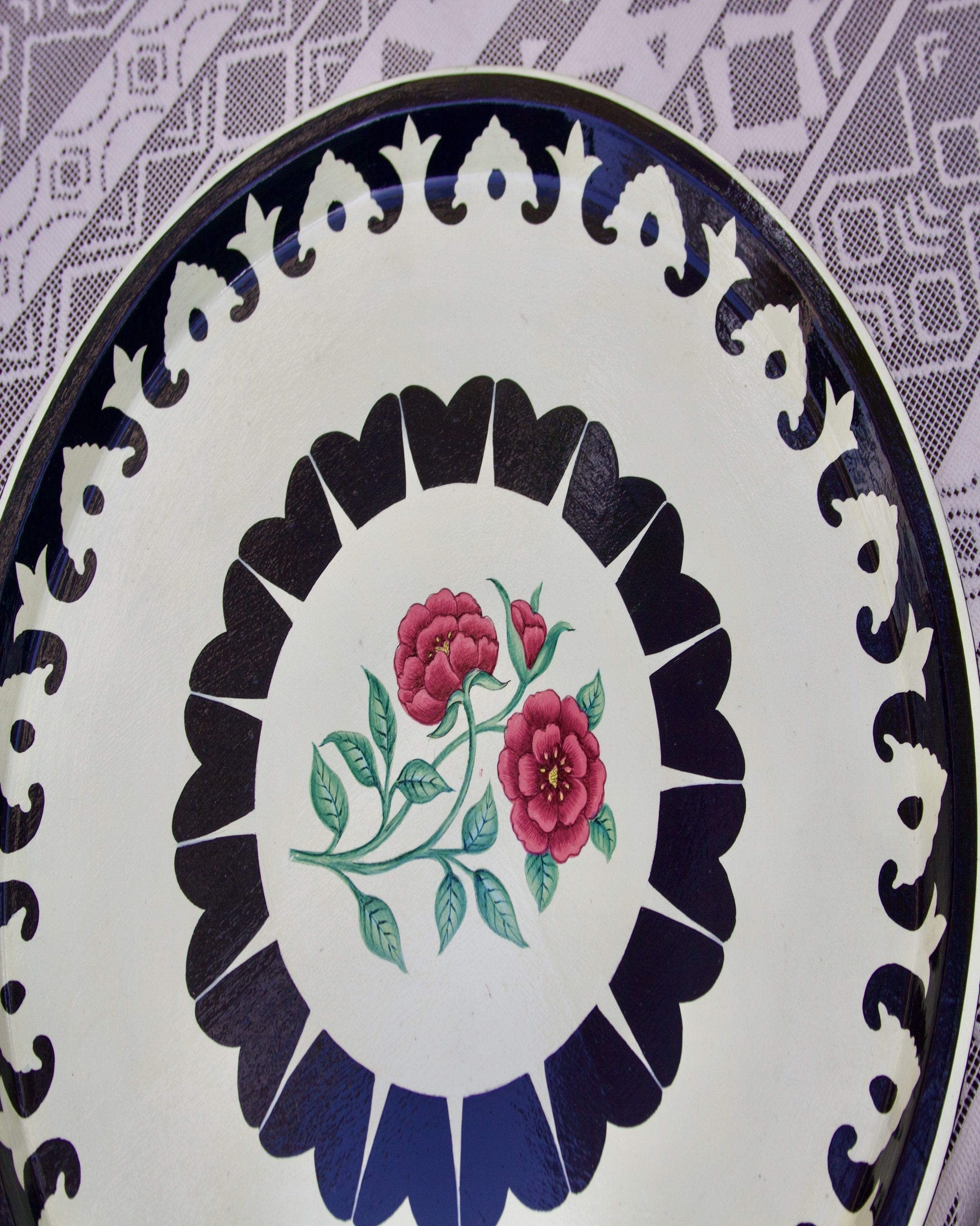 Luxury black & white with red rose kashmiri plates - ANGIES INDIA