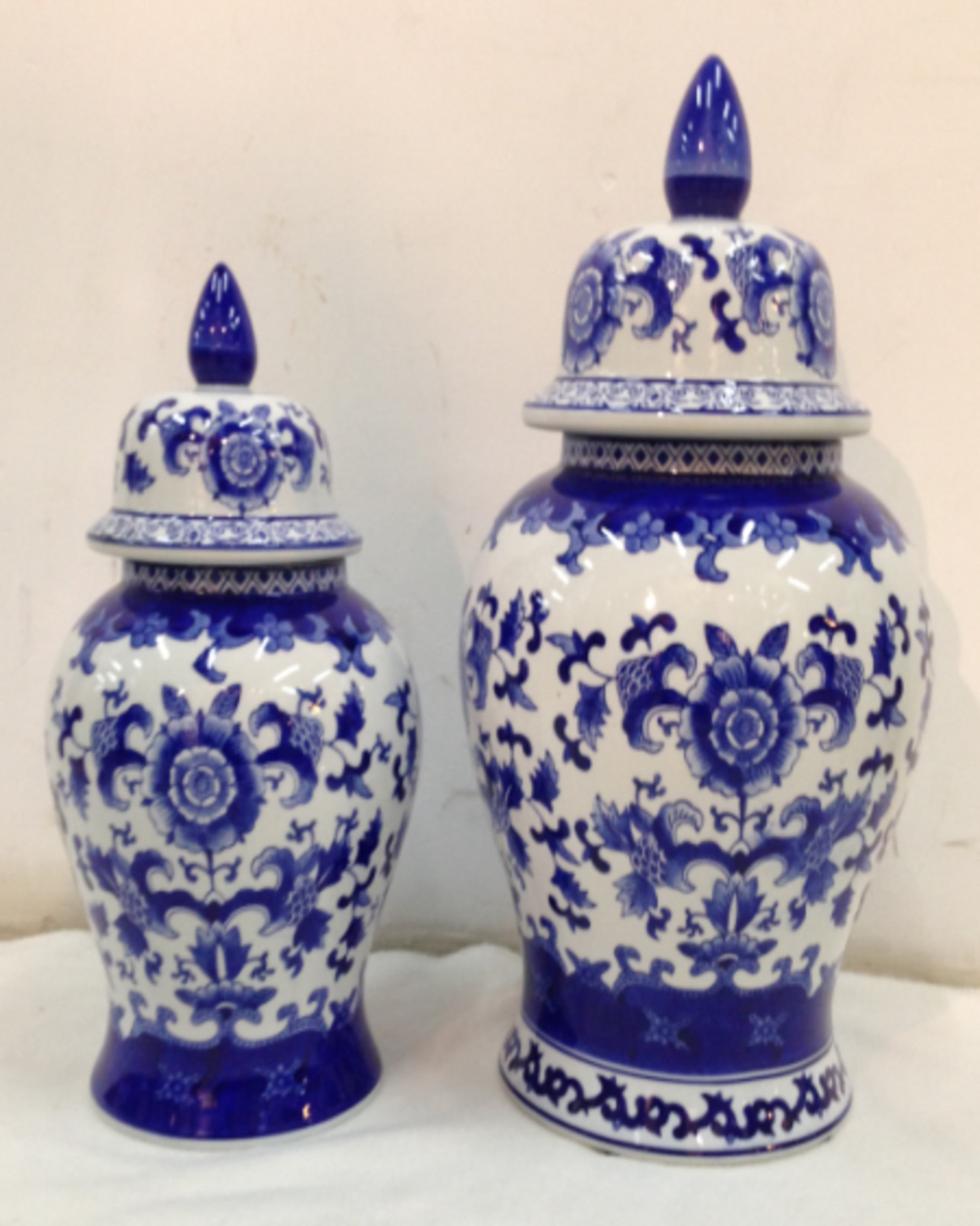 HARLOW BLUE & WHITE VASES (Set Of 2)- ANGIEHOMES.CO ANGIE HOMES