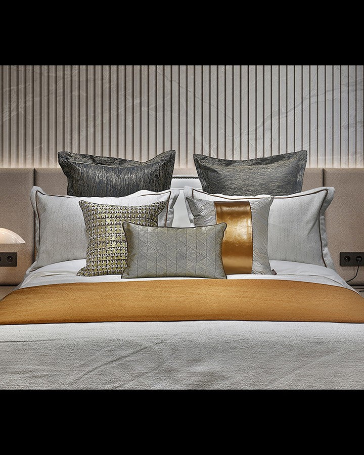 Luxury grey and golden bed set with pillow | Angie Homes