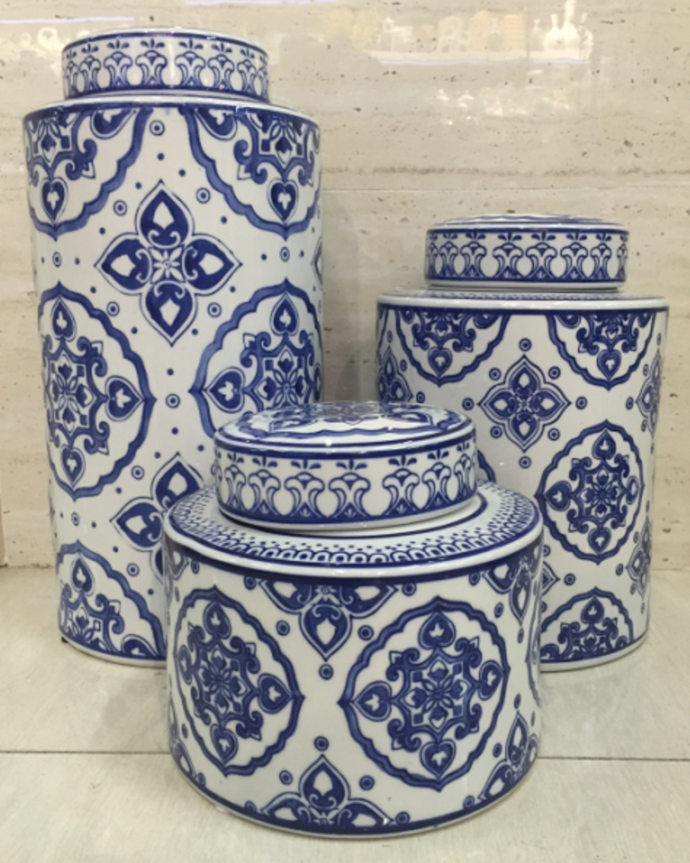 JAVA  BLUE  & WHITE VASES (SET OF 3)- ANGIEHOMES.CO ANGIE HOMES