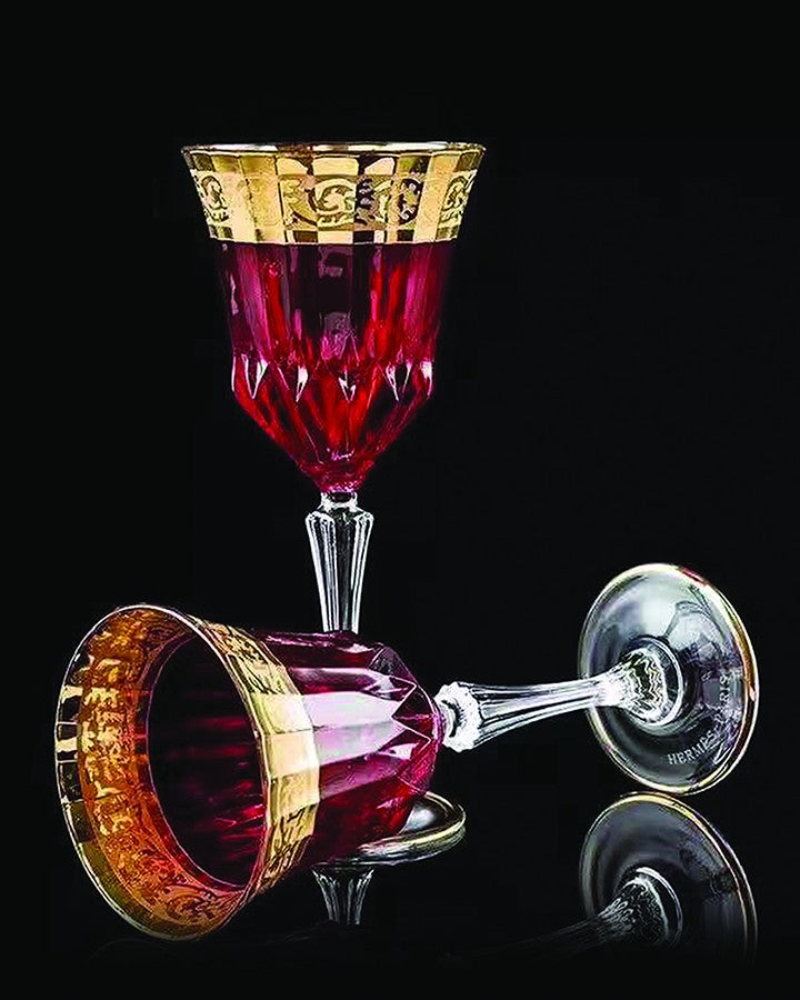 JAZZ RED COLORED CRYSTAL  CUT GLASS ANGIE HOMES