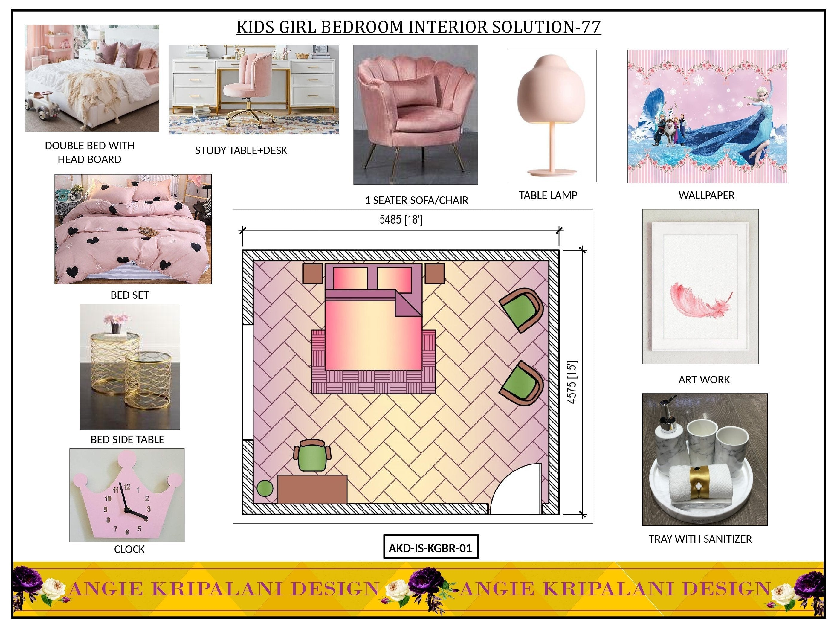 KIDS GIRL BEDROOM INTERIOR SOLUTION-77 ANGIE HOMES