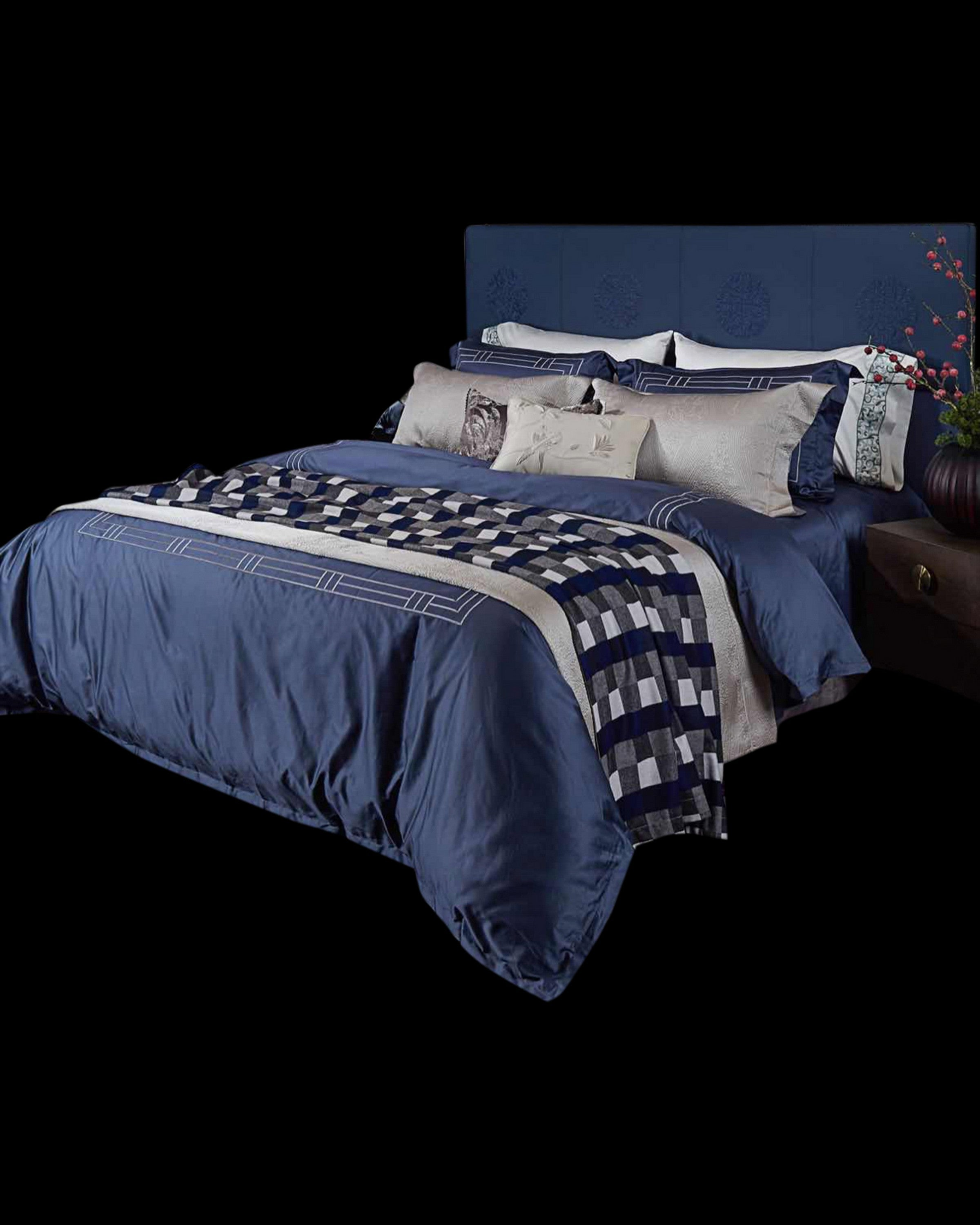 Luxury blue bed set with pillow | Angie Homes
