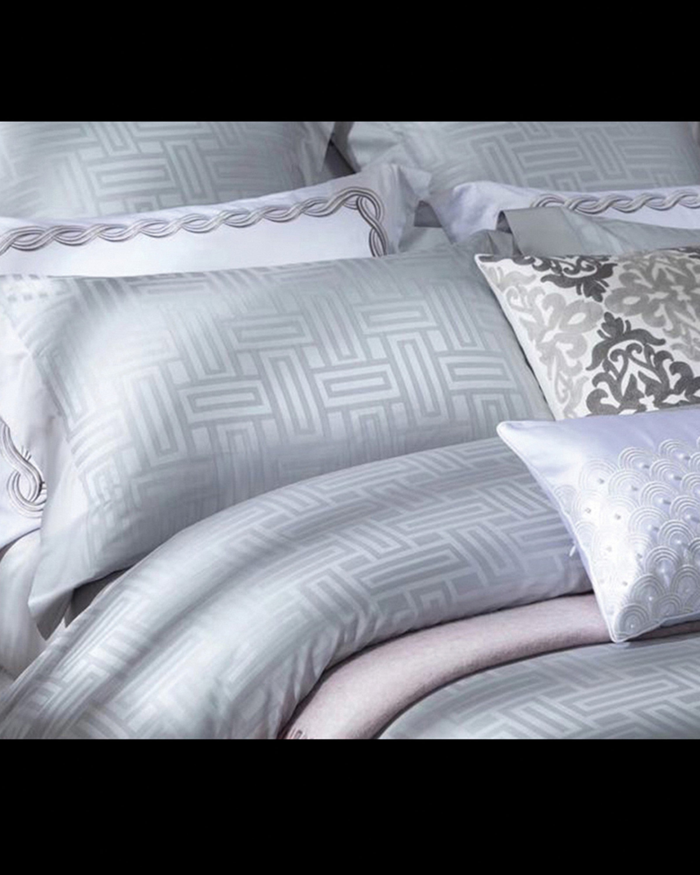 Luxury sky blue linen bed sets | Angie Homes