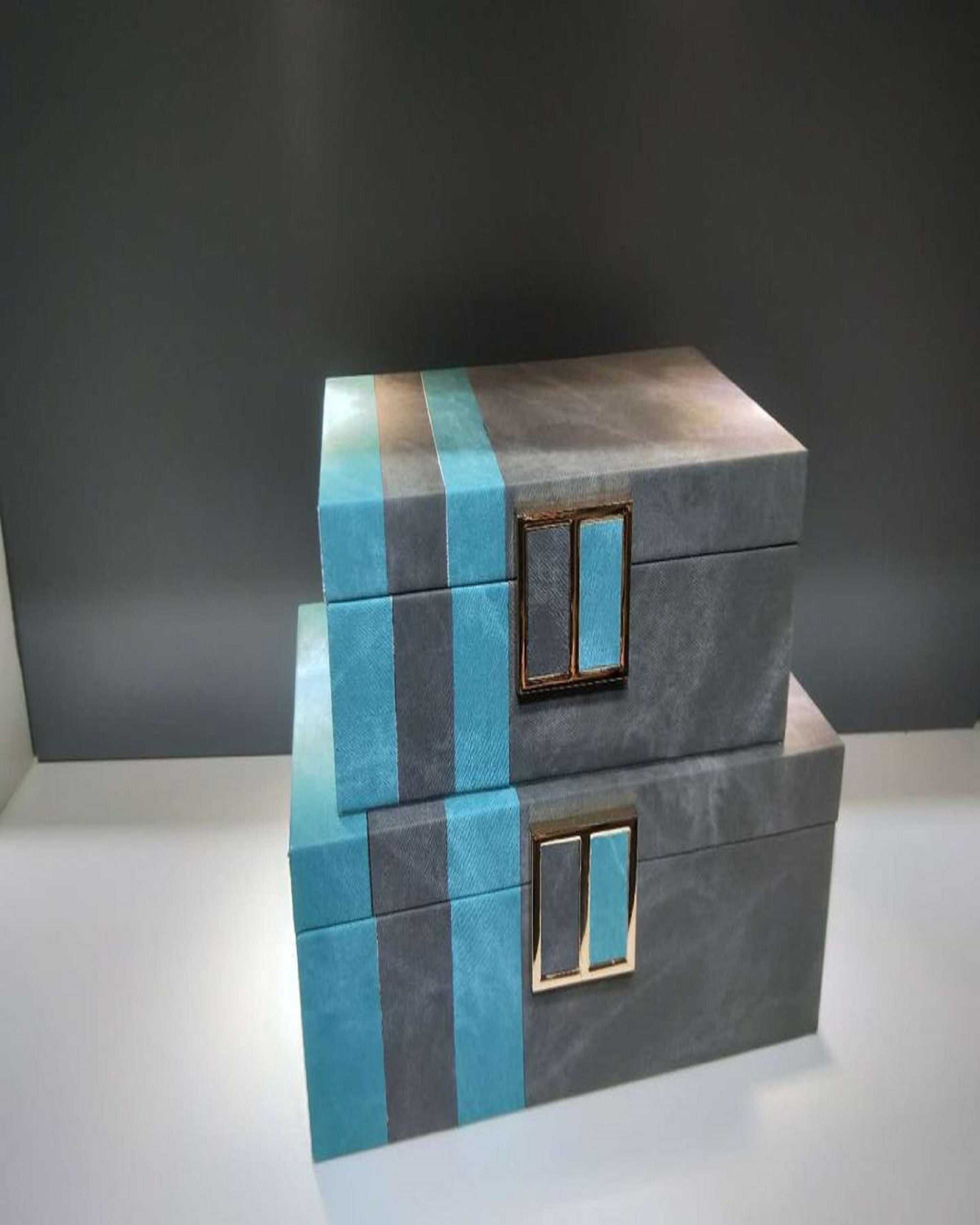 Luxury Leather blue and grey Micelleniouse box | Angie Homes