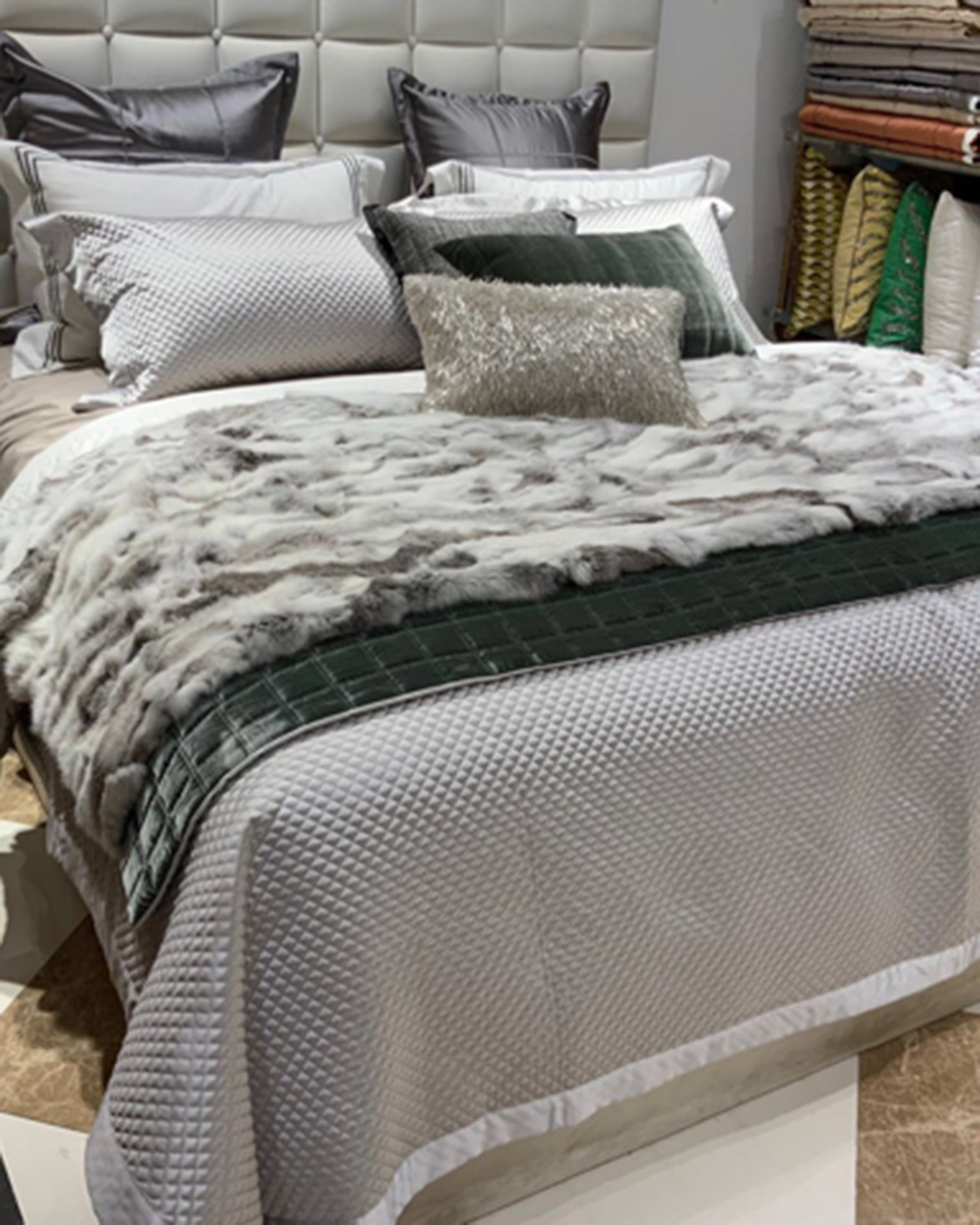 Luxury quilted grey bed sets | Angie Homes
