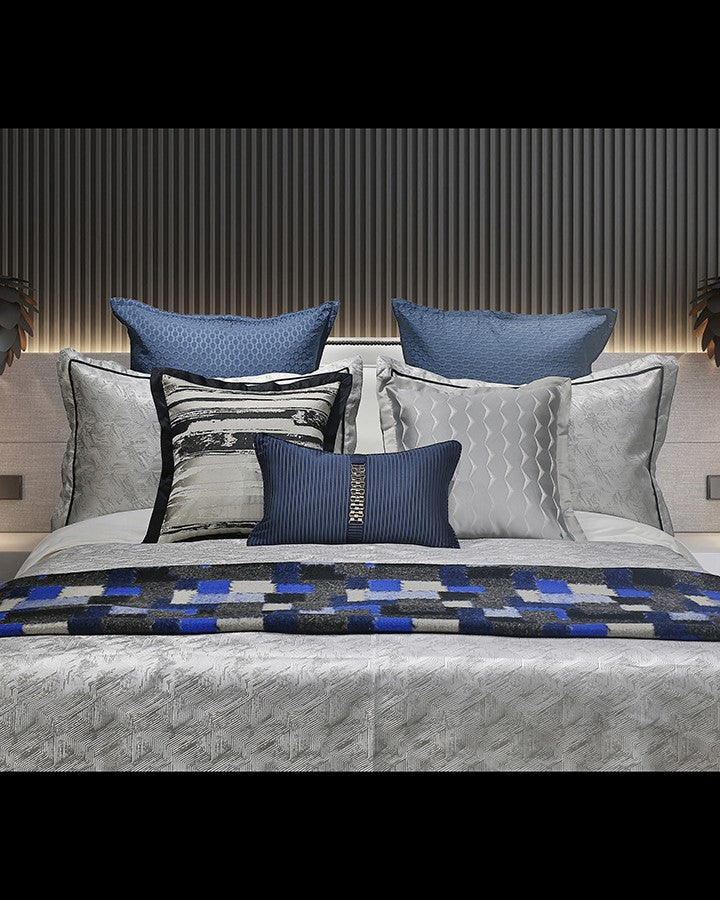 Luxury blue and grey bed sets with pillow|Angie Homes