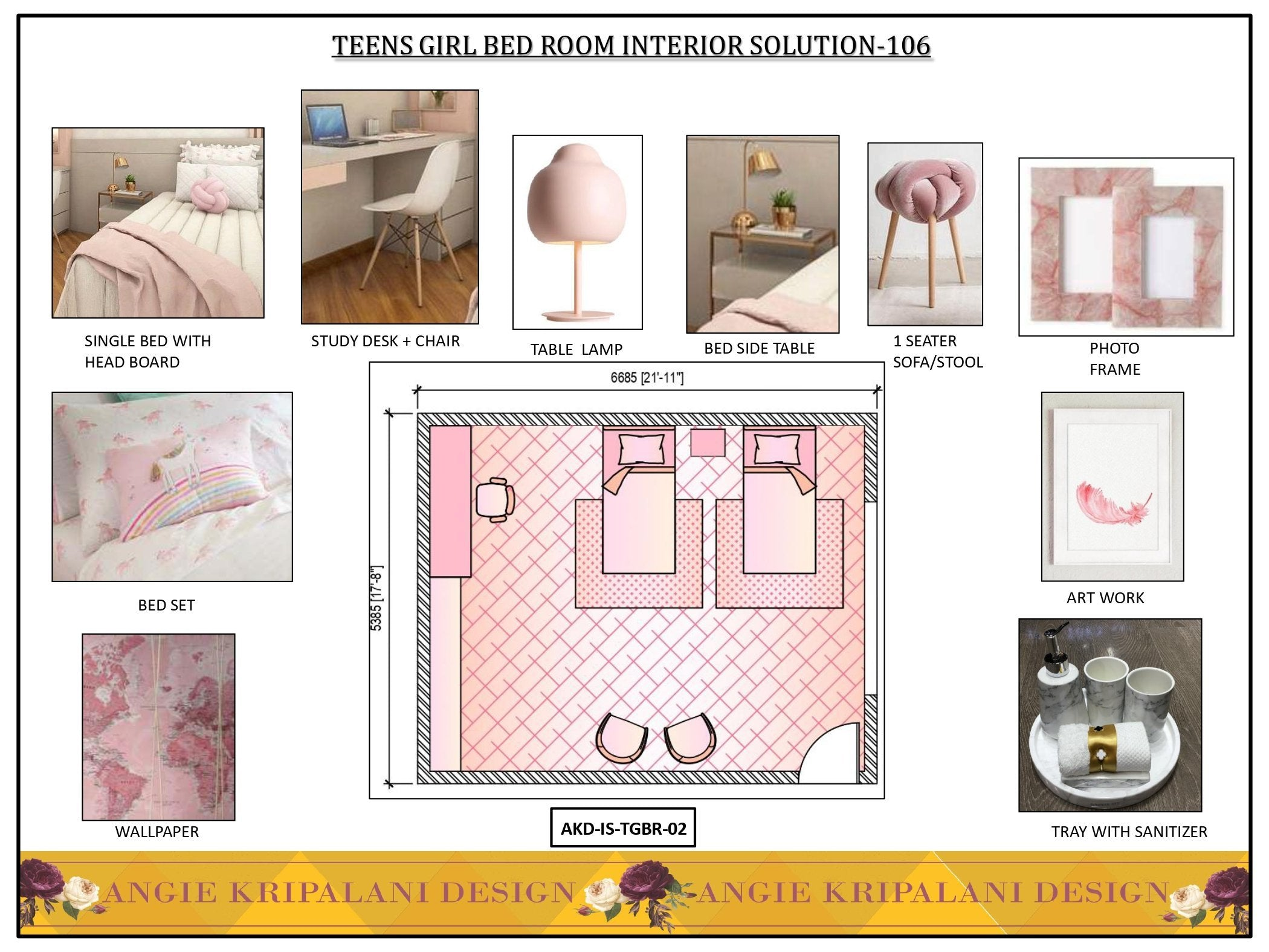 Teen Girl Bed Room Interior Solution - 106 ANGIE HOMES