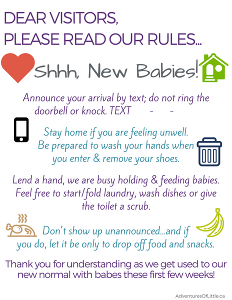 twin multiples new baby visitor rules