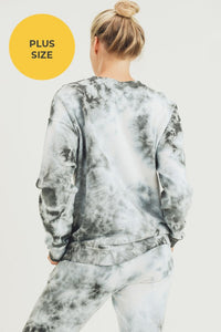 Plus Size Cloud Tie-Dye Jacquard Terry Sweatshirt