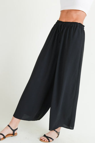 Wide-Leg Drawstring Black Pants