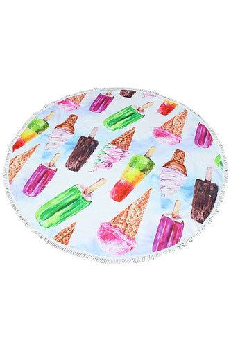 Ice cream print round beach towel. Approx. diameter 59