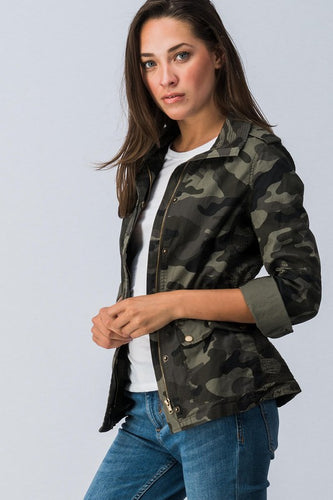Camo Zip Up Jacket with Pockets