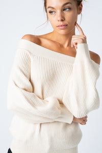 Off The Shoulder Balloon Sleeve Ivory Sweater