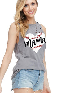 MAMA BASEBALL HEART GRAPHIC TOP