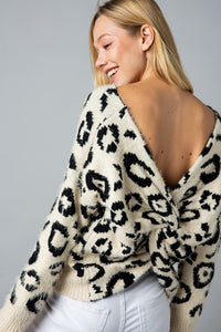 &Merci Leopard Twist Back Sweater