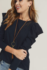 Doe & Rae Puff Sleeve Long Sleeve Top - Black