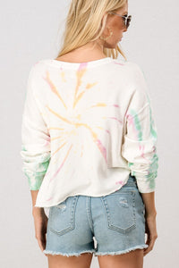 Tie Dye Shoulder Long Sleeve Sweatshirt