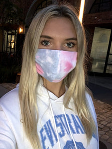 Women Teen Pink & Purple Tye Dye Mask