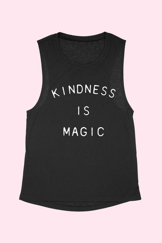 Kindness Is Magic Black Muscle Tank
