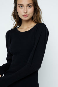&Merci Round Neck Puff Sleeve Sweater