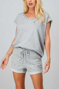 French Terry Sleeveless Studded Trim Top