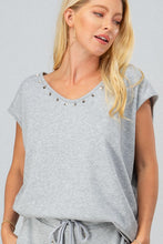 Load image into Gallery viewer, French Terry Sleeveless Studded Trim Top