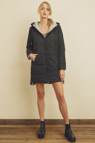 Hooded Puffer Jacket - BLACK