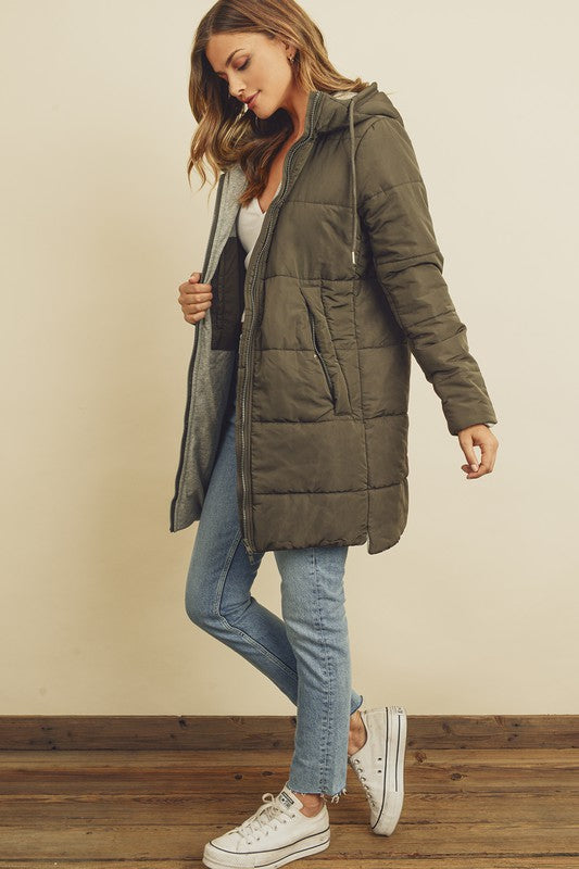 Hooded Puffer Jacket - Olive