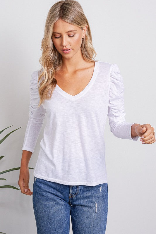 Ruched Long Sleeve White V-Neck Top