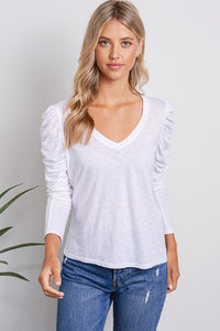 Ruched Long Sleeve V Neck Top