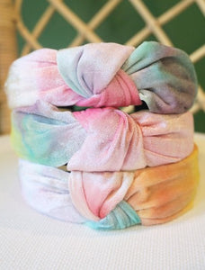 Multi Color Tie Dye Top Knot Headband