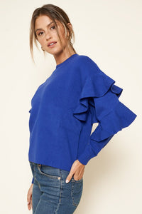 Comfy Ruffle Electric Blue Sweater