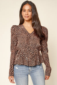 Sugar Lips Animal Print Puff Sleeve Top