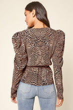 Load image into Gallery viewer, Sugar Lips Animal Print Puff Sleeve Top