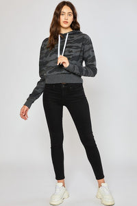 Women's Basic Camo Fleece Cropped Pullover