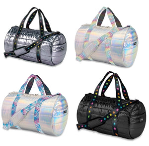 Top Trenz Metallic Puffer Duffle bag w/ Straps