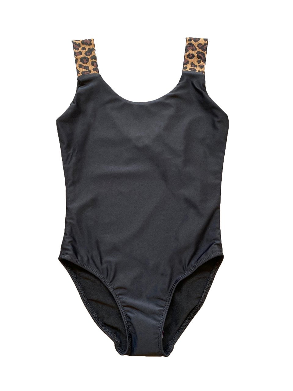 Cheryl Kids One Piece Bathing Suit with Leopard Straps