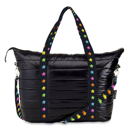 Puffer Tote Bags Black with Shadow Stars on Strap