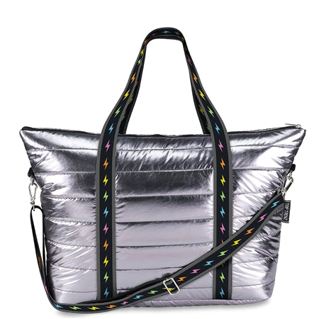 Gunmetal Puffer Tote Weekender w/ colorful Bolt Strap