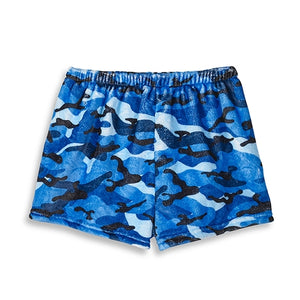 Top Trenz Blue Camo Fuzzy Lounge Shorts