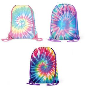 Tie Dye Spiral Canvas Clinch Drawstring Bag